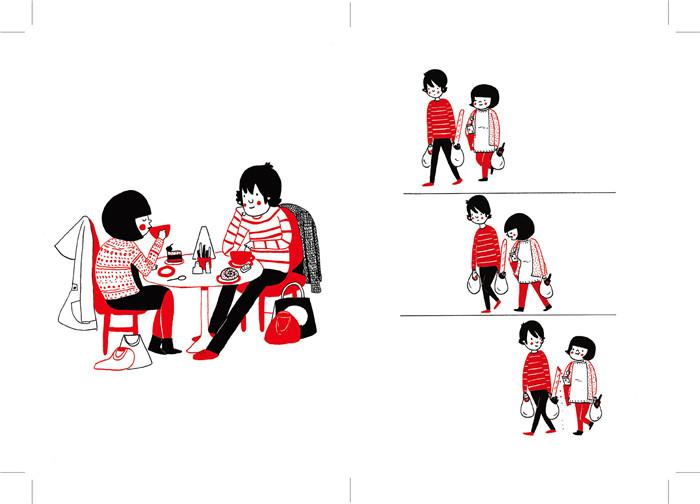 1.这是一本内容无懈可击的书(除非你就是看不得别人好,或者看不了绘本),内容温馨讨喜,红黑双色印刷,设计感强。 2.这是送给Ta最好的礼物,书中的每一幅画、每一段对话、每一个细节似乎都是你们俩正在经历的瞬间。 3.爱Ta,送Ta。 爱,不一定总是惊天动地。 和他一起看书, 与他共享一床被子, 一起在超市的货架边徘徊, 依偎在沙发上看电影, 为了无聊小事的争吵与和解, 齐心协力打开一罐泡菜 当一个人的生活变成两个人的家居时光, 你很快就会发现一些小事也变得意义重大。 再平凡不过的日常时刻, 也因为与所爱的