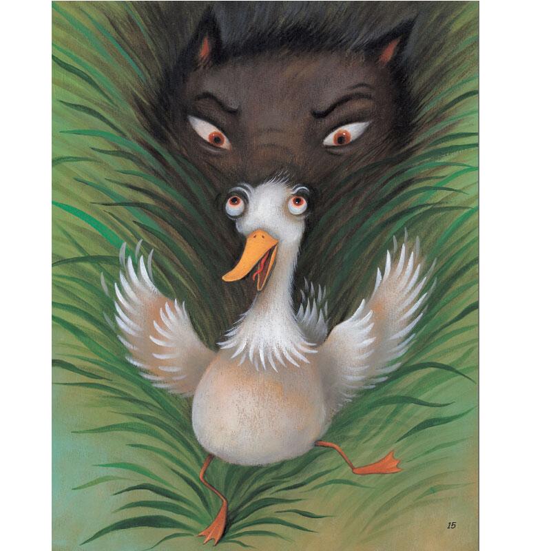 小猫趁机要捕捉小鸟,被彼得阻拦 将它拴在树上,爷爷和猎人赶来把图片