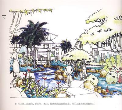 园林手绘效果图表现技巧:彩色铅笔马克笔篇