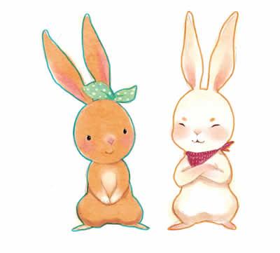 灰兔子卡通图片可爱