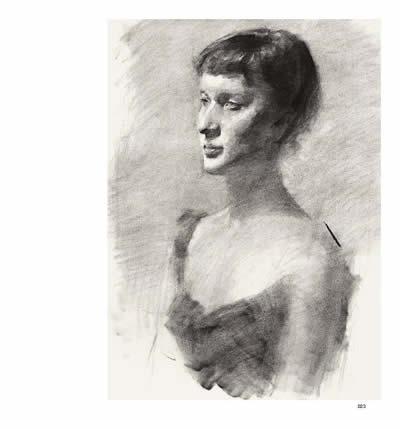 女生半身头像素描